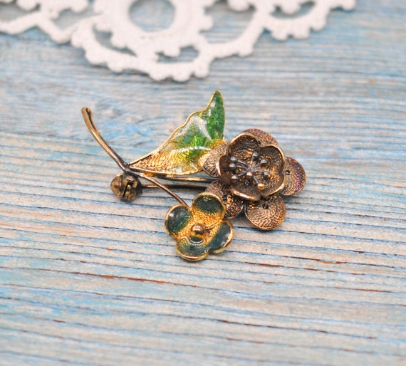 1970 Brooch GOLD plated metal and Green and Blue Enamel Genuine Italian Vintage Costume Jewelry
