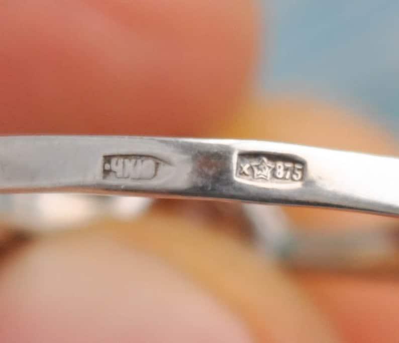 Kharkiv Jewelry Factory 1984. Vintage USSR era 875 Silver Ring with Colorless Rhinestone Ukraine