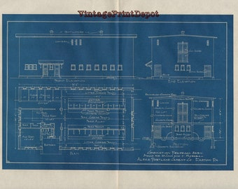 Vintage blueprints etsy combination fireproof barn stalls for 20 cows and 5 horses blueprint blueprints wall decor blueprint digital art concrete plans malvernweather Images