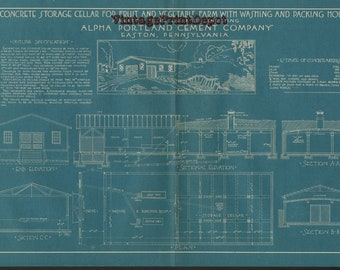 Digital blueprints etsy concrete storage cellar for fruit and vegetable farm with washing and packing blueprint blueprints wall decor blueprint digital art malvernweather Gallery