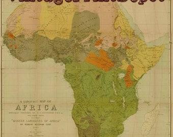 Africa Ethnolinguistic Groups, Africa Ethnolinguistic Groups Digital Print, Africa Map, Map of Africa, Africa Language Map