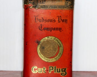 Vintage Hudson's Bay Company Cut Plug Tobacco tin