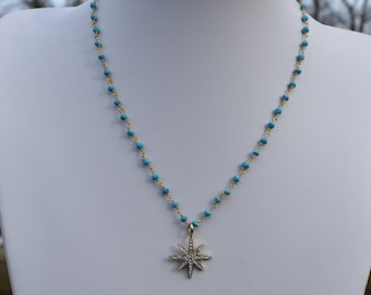 Gold and turquoise rosary chain with gold pave starburst