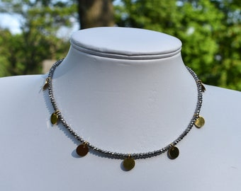 Beaded Choker with Gold Discs