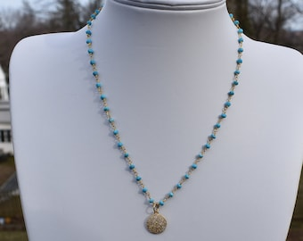 Gold and Turquoise Rosary Chain Necklace with Gold Pave Disc