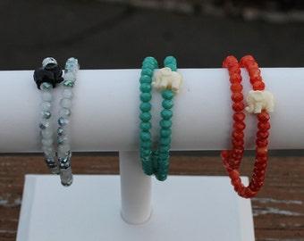Double Wrap Bracelet with Chunky Beads and an Elephant