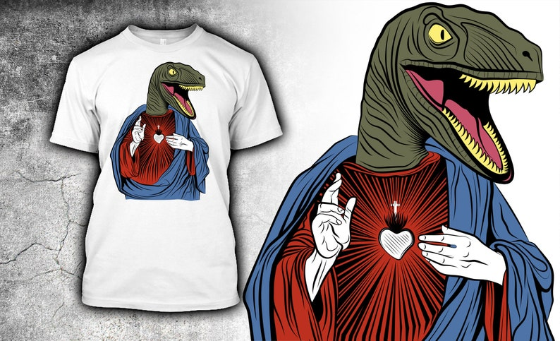 9b385ad76b3 Raptor Jesus T Shirt Jesus Lizard Offensive T Shirt Atheist   Etsy