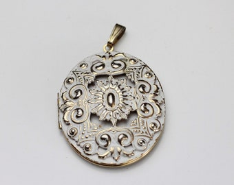 Vintage Gold and White Washed Locket Pendant