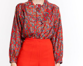 70's Satin Blouse | Vintage 1970's Red Paisley Satin Shirt | Laura & Jayne Western Dog Eared Button Down Shirt (Women's medium)