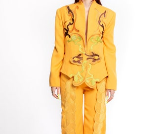 Vintage embroidered Pantsuit, Yellow Orange, 1980's 2 pieces, designer power suit in, by Korii joko international (women's Small or 8)