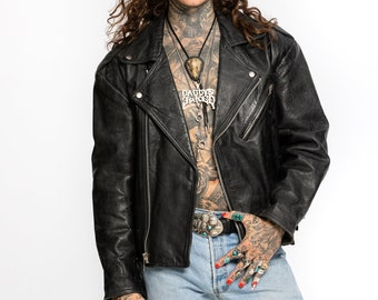 Leather biker Jacket | Vintage 1980's Leather Perfecto Jacket | Leather Moto jacket by Chelsea London (Men's XLarge)