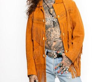 Fringed Suede Jacket | Vintage Fringed Suede Jacket| Burnished Western Design| 1970's Heavy Suede Western Jacket ( Men's Small - Medium)