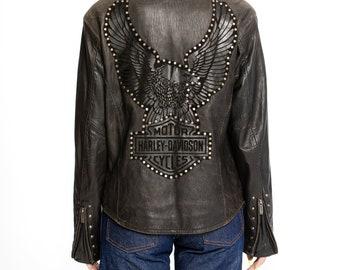 Harley-Davidson Jacket, Vintage Y2K Leather Moto Jacket | Leather biker jacket | Biker jacket with eagle studs patch (women's small)