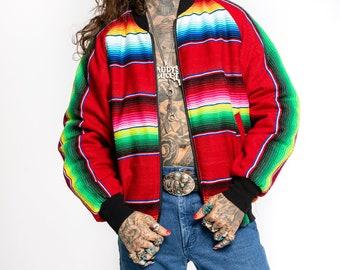 Mexican Blanket Jacket | Vintage 1990's Rainbow Serape Jacket, Navajo Bomber Jacket by Award Design Western Apparel (men's Large)