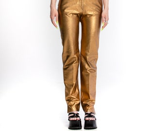 1980's Vintage Gold Leather Pants by Begedor Italia made in Italy (women's 26)