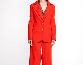 Vintage 70's pantsuit | 70's Flare Suit| 1970's 2 Pieces Red Power Suit by Alex Garay | Vintage Women's Suit  (women's small/medium or 8)