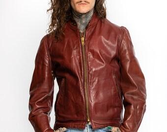 Vintage Schott Jacket | Vintage 1970's Oxblood Leather Cafe Racer Jacket | burgundy Leather Biker Jacket | Vintage Moto Jacket (Men's Large)