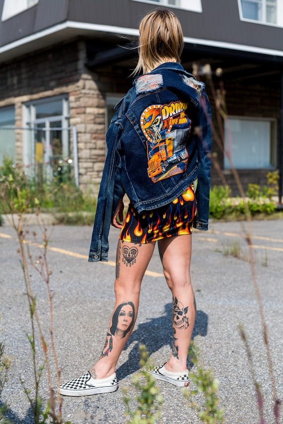Trucker Jacket Patch Distress skull Upcycled Jean qtxFSE