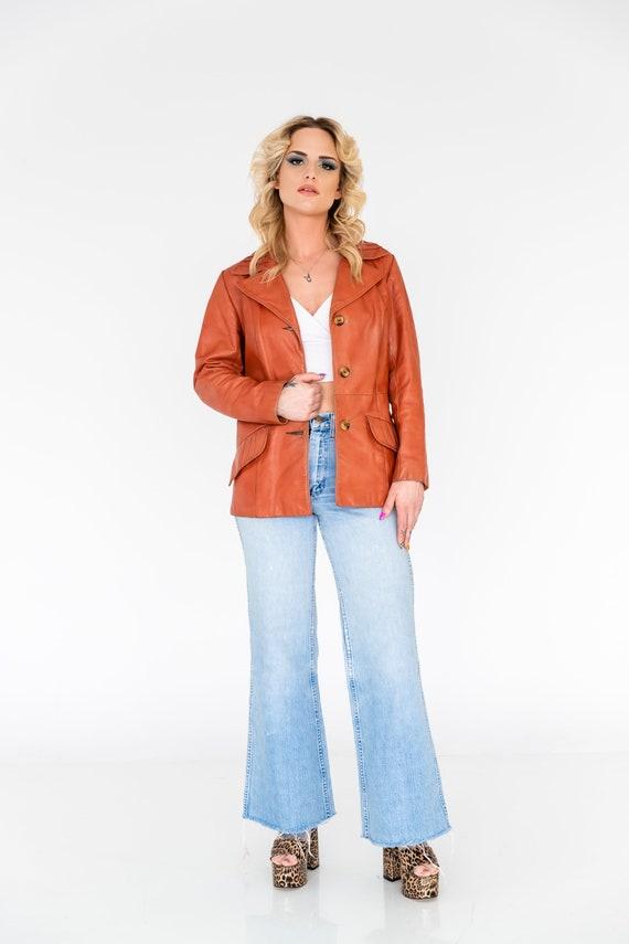 Vintage 1970's Orange Leather Collared Jacket | O… - image 2