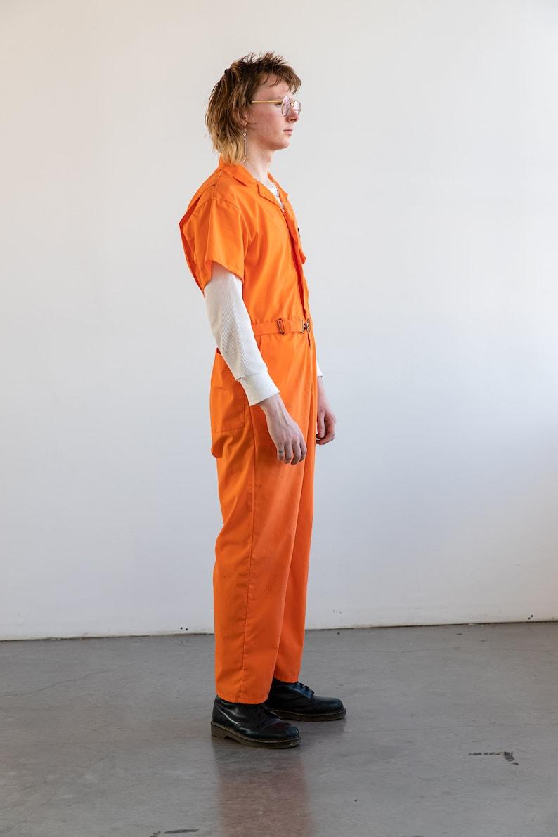Chain Stitched Fire Dept men/'s Medium Jumpsuit Boiler Suit orange Vintage 1970/'s Coverall Workwear