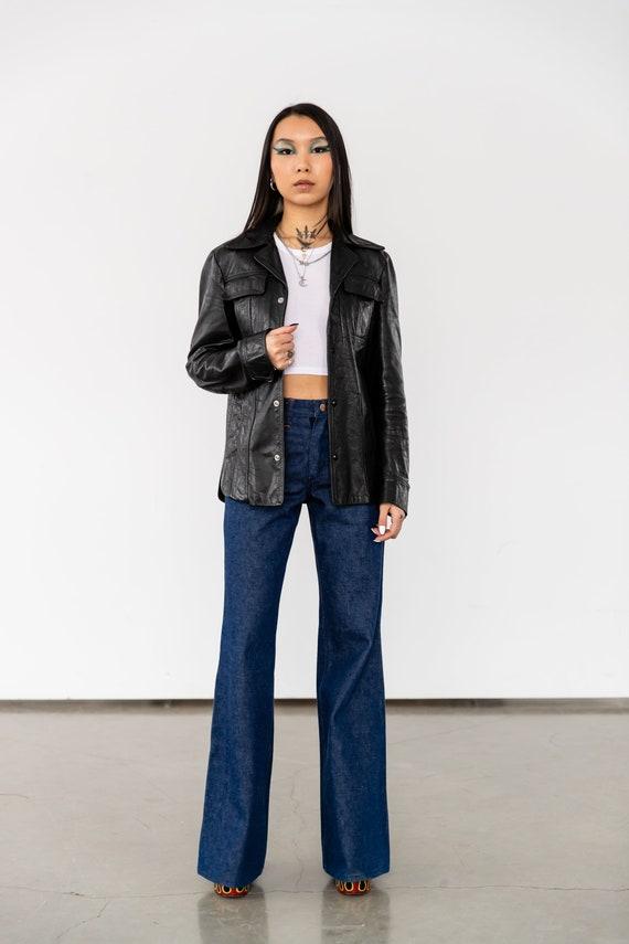 1970's Vintage Black Leather Jacket With Dagger Co