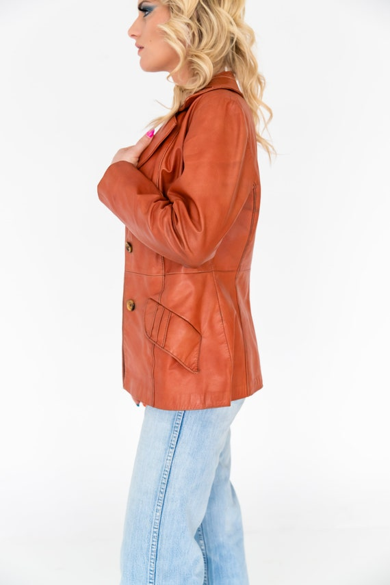 Vintage 1970's Orange Leather Collared Jacket | O… - image 7