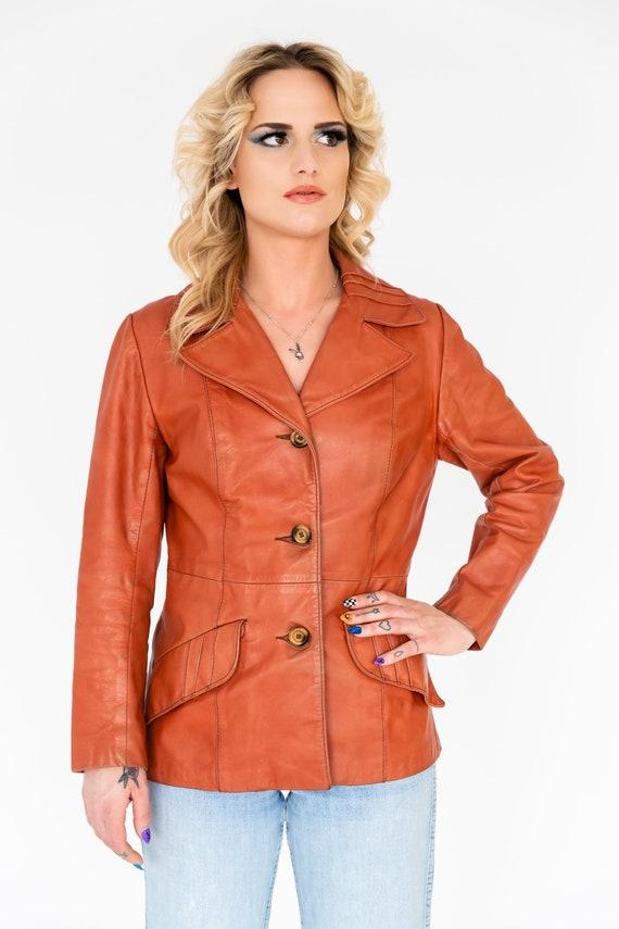 Vintage 1970's Orange Leather Collared Jacket | O… - image 4