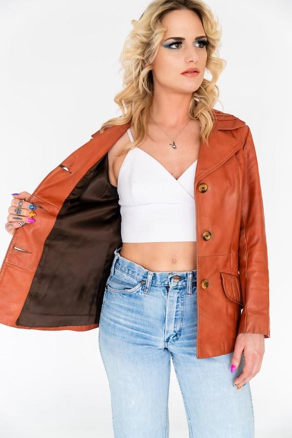 Vintage 1970's Orange Leather Collared Jacket | O… - image 6