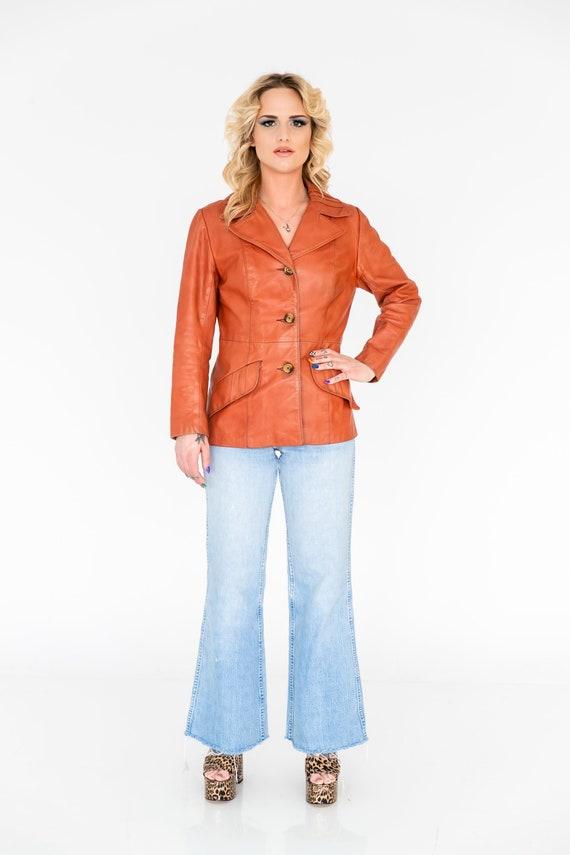 Vintage 1970's Orange Leather Collared Jacket | Or