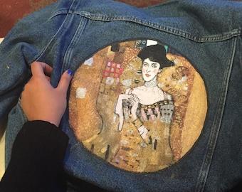 Portrait of Adele Bloch-Bauer I - Klimt Denim Jacket (read description carefully!)