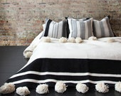 White Cotton Moroccan Pompom Blanket,bedroom blanket,moroccan throw blanket,pompom blanket, blanket White and Black stripes and pompoms