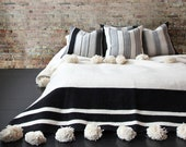 Wool Moroccan Pompom Blanket,bedroom blanket,moroccan throw blanket,pompom blanket, blanket with Black stripes and pompoms