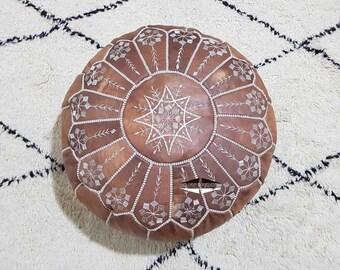 Moroccan Pouf natural Leather pouf, pouf , Floor pouf , moroccan Leather Ottoman pouf,pouf 17