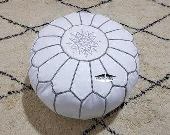 Moroccan Pouf natural Leather pouf, pouf , Floor pouf , moroccan Leather Ottoman pouf,pouf 11
