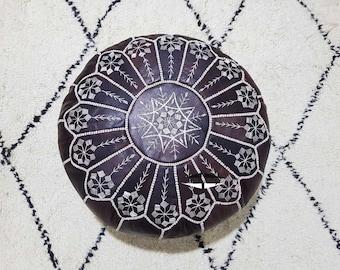 Moroccan Pouf natural Leather pouf, pouf , Floor pouf , moroccan Leather Ottoman pouf,pouf 19