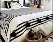 Cotton Moroccan Pompom Blanket,bedroom blanket,moroccan throw blanket,pompom blanket, blanket White and Black stripes and pompoms