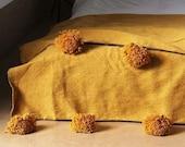 Cotton Moroccan Pompom Blanket,bedroom blanket,moroccan throw blanket,Mustard moroccan pompom blanket