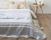 Cotton Moroccan Pompom Blanket,bedroom blanket,moroccan throw blanket,moroccan pompom blanket Gray and White stripes and pompoms