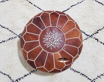 Moroccan Pouf natural Leather pouf, pouf , Floor pouf , moroccan Leather Ottoman pouf,pouf 23