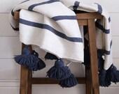 Cotton Moroccan Pompom Blanket,bedroom blanket,moroccan throw blanket, moroccan pompom blanket Navy Blue and white stripes with pompoms