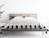 POM POM BLANKET - Moroccan Blanket - Handmade Organic Cotton Black Stripes Blanket - Beautiful Throw Bedroom Tassels Blanket Gift For Her