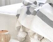 Cotton Moroccan Pompom Blanket,bedroom blanket,moroccan throw blanket,pompom blanket, blanket White and Gray stripes and pompoms