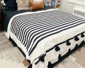 Cotton pompom blanket, throw blanket,black stripes,bedroom blanket,Blankets and Throws,bed spread,bedding,tassel throw blanket,woven blanket