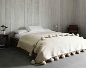 Wool Moroccan Pompom Blanket,bedroom blanket,moroccan throw blanket,pompom blanket, pompom blanket,throw blanket,ivory pompoms blanket