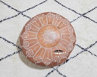 Moroccan Pouf natural Leather pouf, pouf , Floor pouf , moroccan Leather Ottoman pouf,pouf 15