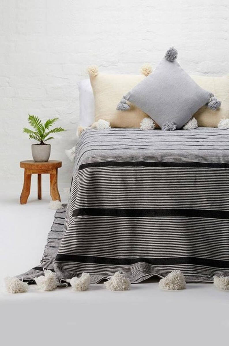 Cotton Moroccan Pompom Blanketbedroom blanketmoroccan throw image 0