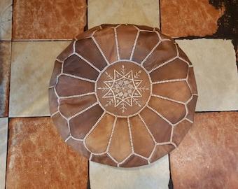 Moroccan Pouf natural Leather pouf tan pouf Floor pouf , moroccan Leather Ottoman Tan pouf