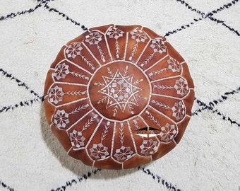 Moroccan Pouf natural Leather pouf, pouf , Floor pouf , moroccan Leather Ottoman pouf,pouf 16
