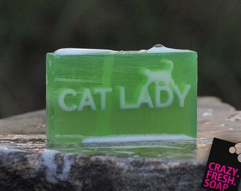 Cat Lady Bar Soap | GREEN - Fully embedded text, Hemp & Goat milk base - Graduation gift for her, Birthday gift.