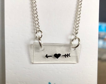 Adorable heart and arrow necklace * shrink plastic